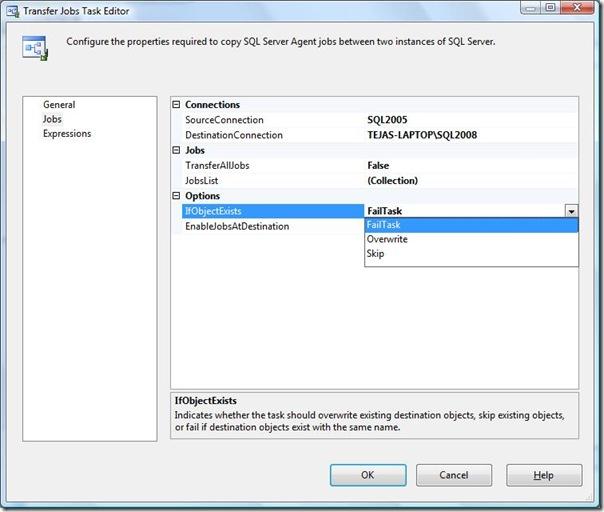 SSIS Transfer jobs Task Editor ObjectExist