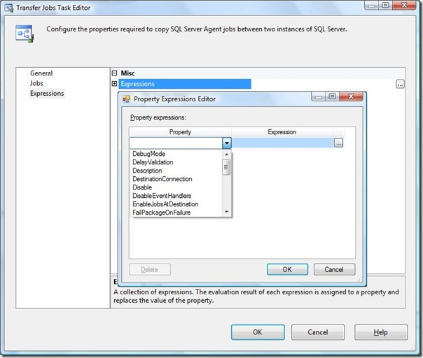 SSIS Transfer jobs Task Editor Expression