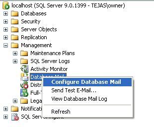 SQL SERVER: Configure Database Mail with SQL SERVER 2005